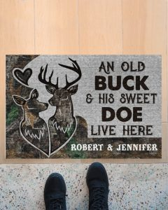 An old buck and his sweet doe live here custom name doormat