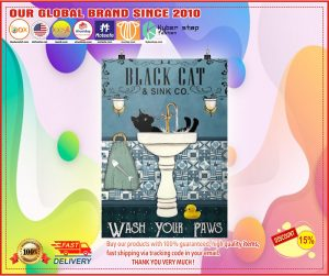 Poster Black cat and sink co wash your paws