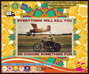 Poster Motorbike planes everything will kill you so choose something fun
