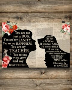 Poster Golden Retriever dog and girl therepist you are not just a dog