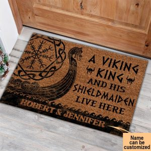 A viking and his shild maiden live here custom name doormat
