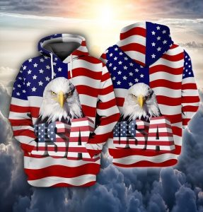 Eagle and flag american 3D hoodie
