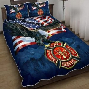 Firefighter American eagle bedding set