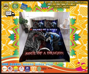 Heart of a wolf soul of a dragon bedding set 3