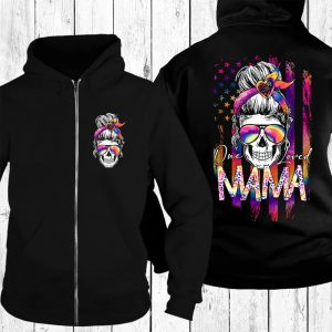 Skull colorful one loved mama 3d hoodie 2
