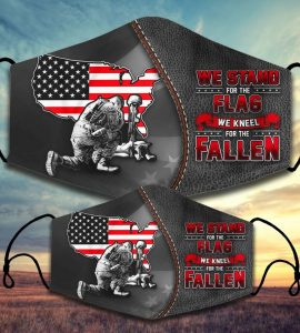 We stand for the flag we kneel for the fallen facemask