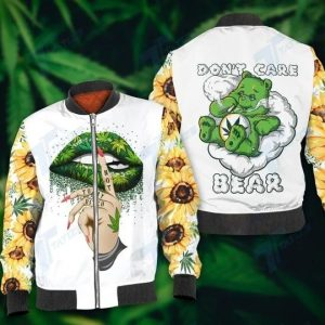 Weed don't care bear 3d hoodie and legging 4