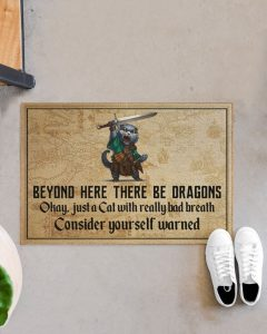 Cat beyond here there be dragons doormat 3