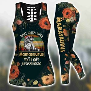 Don't mess with mamasaurus vintage 3D hoodie and legging 3