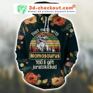 Don't mess with mamasaurus vintage 3D hoodie and legging