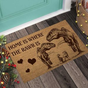 Home is where the rawr is dinosaur doormat4