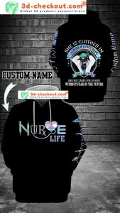 Nurse life she is clothed in scrubs and a facenask custom name 3D hoodie