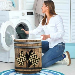 Racing faux wood print basket laundry 3