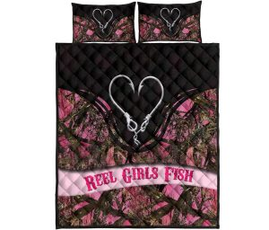 Reel girl fish quilt bedding set4