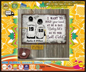 Baseball I want to hold your hand at 80 and say baby let's go to the ball field custom name poster 1
