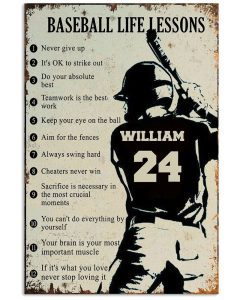 Baseball life lessons custom name and number poster