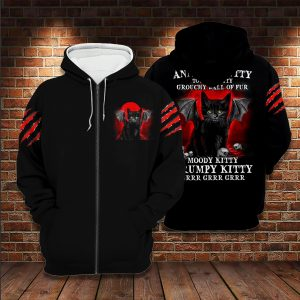 Black cat Annoyed kitty touchy kitty grouchy ball of fur moody grumpy kitty 3D hoodie 3