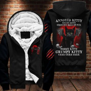 Black cat Annoyed kitty touchy kitty grouchy ball of fur moody grumpy kitty 3D hoodie 4