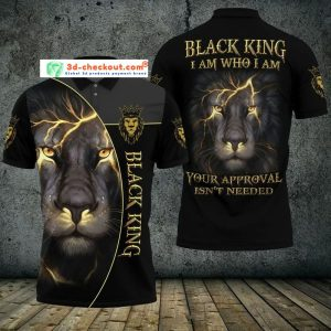 Black lion king I am who I am your approval isn't needed polo shirt