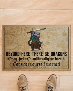 Cat with sword beyond here there be dragons doormat 1