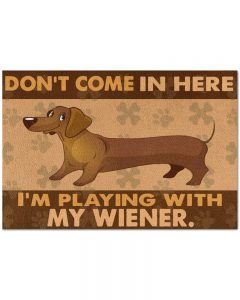 Dachshund don't come in here I'm playing with my wiener doormat