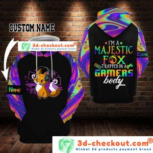 Fox I'm a majestic fox trapped in a gamers body 3D custom name hoodie