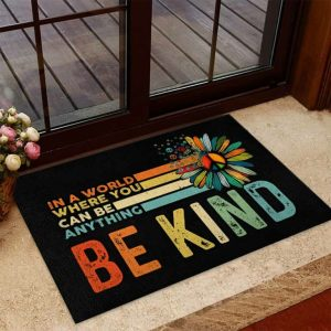 Hippie In a world where you can be anything be kind doormat