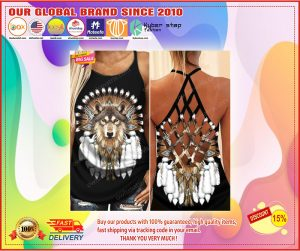 Native American wolf Criss cross Strappy tank top1