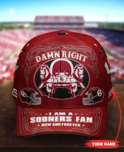 OKSO Damn right I am a Sooners Fan now and forever custom name cap