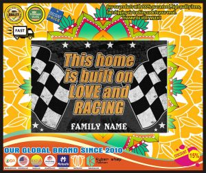 Racing this home is built on love and racing custom name doormat1