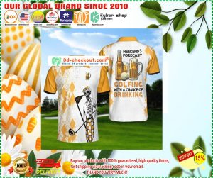 Skeleton weekend forecast colfing with a chance of dringking polo shirt1