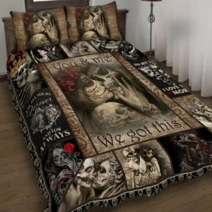Skull You and me we got this quilt bedding set