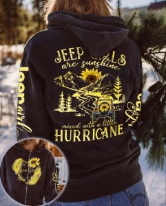 Sunflower jeep girls are sunshine mixed with a little hurricane 3D hoodie 1