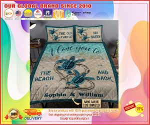 The old turtle his queen I love you custom name quilt bedding set1
