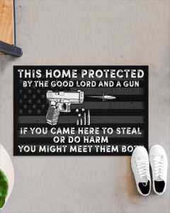 This home protected by the good lord and a gun doormat 4