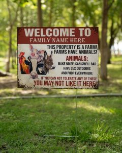Welcome to this property is a farm custom name yard sign1