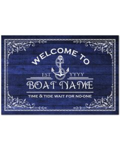 Welcome to time and tide wait for no one boat custom name doormat