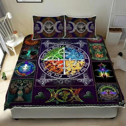 Wiccan witch pagan quilt bedding set 2