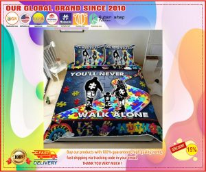 You'll never walk alone autism quilt bedding set1